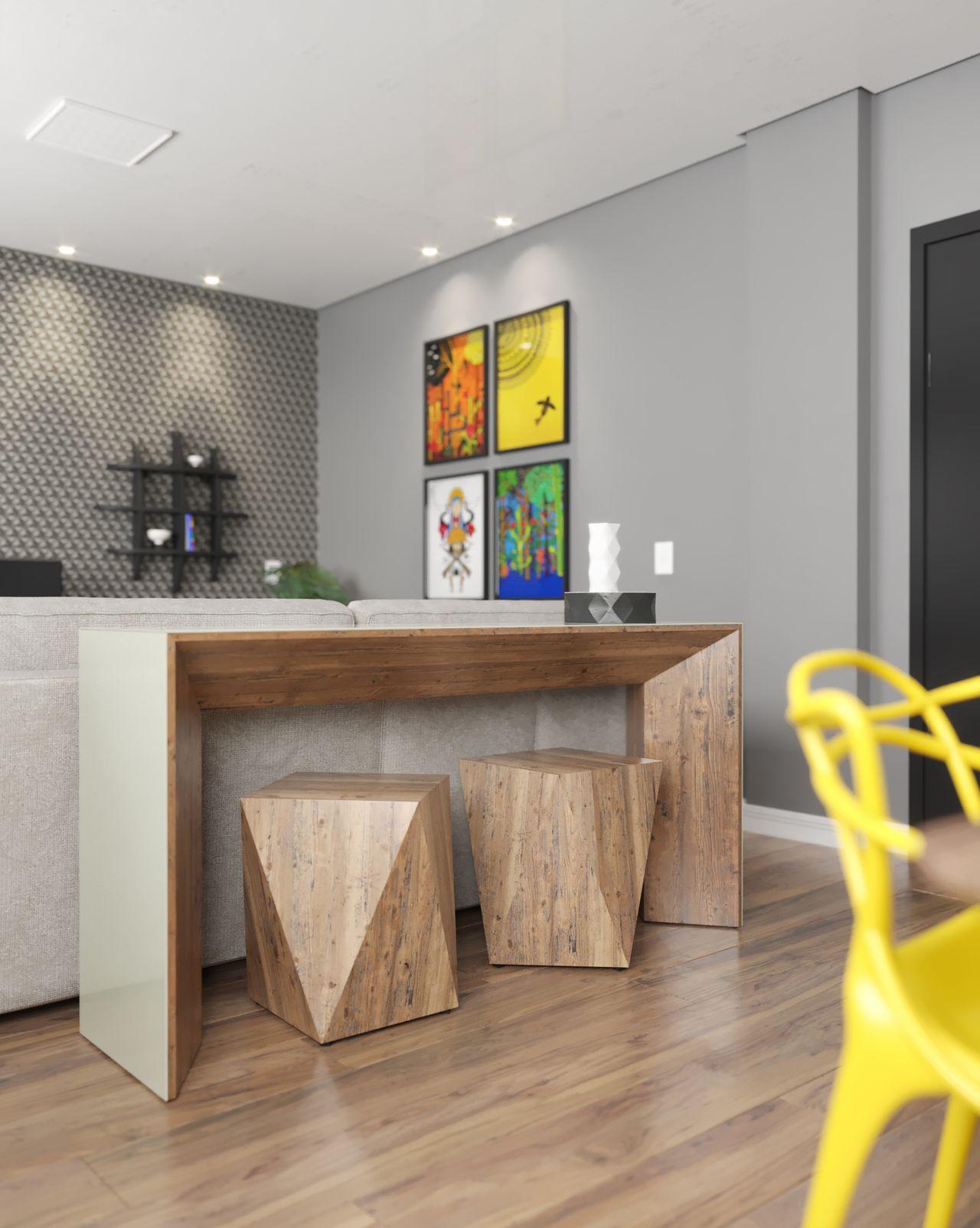 aparador-moderno-com-bancos-de-madeira